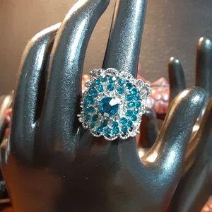 Adjustable faux crystal fashion ring